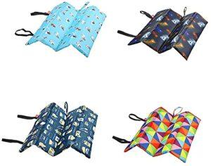 Dzmuero Folding Cushion Portable Seat Mat Hiking Seat Pad Waterproof, for Outdoor Camping Park Picnic Hiking Playground, 32 x 32 cm, 4 Pattern, 4pcs