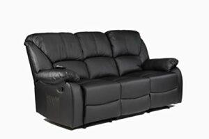 ECODE Canapé 3 places inclinable avec massage par ondulation vibrante, chaleur lombaire, similicuir ECO-8590/3 (Noir)