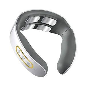 EIU Appareil de massage à chaleur automatique Cycle4 têtes avec télécommande, 6 modes de massage, 9 niveaux d'intensité de massage, rechargeable (couleur : blanc)