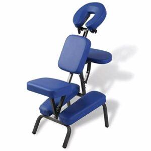 Fauteuil de massage pliable et portable en cuir professionnel, tabouret de massage réglable, bleu