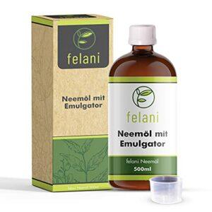 felani® Huile de margousier pressée à froid dans une bouteille en verre avec bouchon doseur, utilisable directement, avec émulsifiant 500 ml
