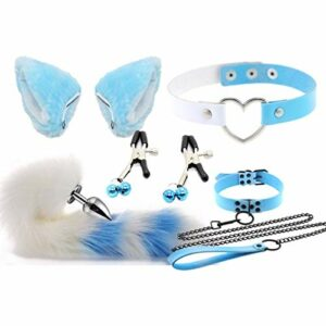 Forocean 4 pièces/ensemble queue de renard poilu an-âl Pl-ùg T-ö-ys & oreilles de chat en épingle à cheveux avec Breàst CLïps collier de cloches