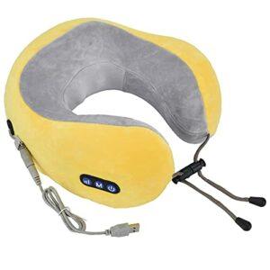 HAOX Oreiller de Massage du Cou, Charge USB Masseur Multifonctionnel Masseur de Cou électrique 5V à Faible Bruit pour Bureau pour bibliothèque(Jaune, Type de Tour penchée de Pise)