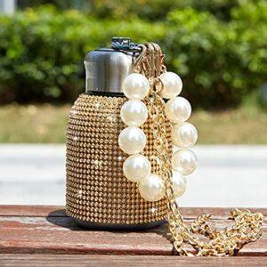 HUONIUPIC Bouteille d'eau en Diamant 300ML avec chaîne de Bracelet en Perles Strass Bling, Tasse isolée Haut de Gamme Rechargeable en Acier Inoxydable avec Couvercle (Color : Glod)