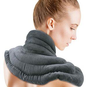ICEHOF Coussin chauffant pour la nuque et les épaules avec lavande – Doux – Chaleur longue durée grâce aux perles d'argile naturelles et l'aromathérapie d'accompagnement, forme ergonomique.