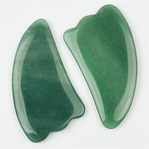 JSJJATQ Perles De Pierre 2 pièces Vert Naturel Aventurine Gua Sha Sha Squiry Scraper Tool de Massage Face au Dos Pierres (Color : 2 Pieces)
