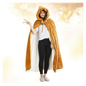 LHQ-HQ Couverture Confortable en Flanelle Portable Couverture De Poncho pour Femmes Et Hommes Adultes Couverture À Capuche Super Chaude Et Confortable sans Manches Robe,A
