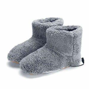 LYYAN Lot de 2 paires de chaussons chauffants électriques souples rechargeables par USB Gris