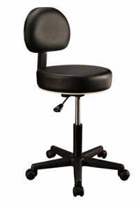 Master Massage Backrest Tabouret pivotant avec dossier réglable en hauteur Noir