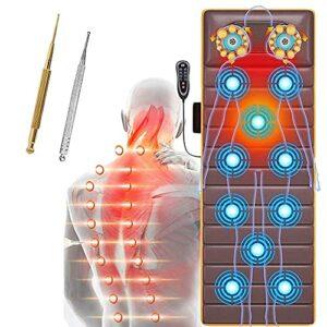 MGIZLJJ Tapis de Massage avec Chaleur, Massage du Dos siège de Massage, Massage Chauffant Matelas avec 10 Moteurs de Vibration, Tapis De Massage Full Shiatsu avec 20 têtes de Massage