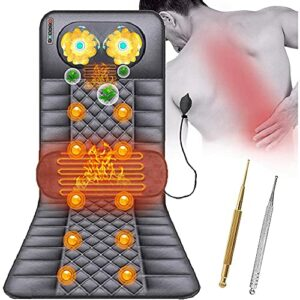 MGIZLJJ Tapis De Massage Chauffant Massagiste du Cou Vibration avec 20 Têtes De Massage Shiatsu Et 10 Coussins De Massage À Moteur Vibrant, Soulager Douleur Taille Jambe