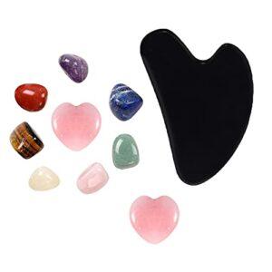 Outils de massage de Gua Sha SHA et jeu de cristaux de chakra, outils faciaux de la GUA SHA de quartz rose, cristaux de guérison Reiki pour la guérison, la méditation, l'équilibre ou le rituel de la