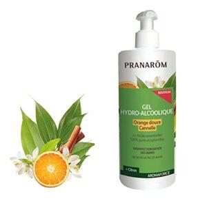 Pranarôm |Aromaforce | Gel Hydro Alcoolique aux Huiles Essentielles d'Orange Douce/Cannelle/Citron/Bois de Hô/Gingembre 500 ml