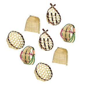 PRETYZOOM 8 Pièces Mini Bambou Paniers Set Dollhouse Cuisine Accessoires Petit Bambou Tissé Pelles À Poussière Photo Fruits Panier Accessoires Ferme Table Maîtresse