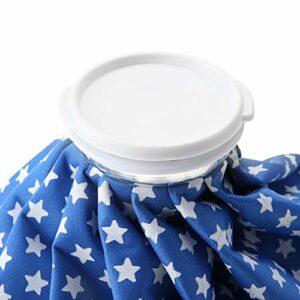 Sac de glace froid, sac de glace froid au design plissé avec grande ouverture Sac de glace de soins de santé de 1500 ml réutilisable pour les entorses, les douleurs musculaires, les(Blue star)