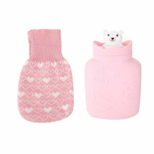 Sac d'eau chaude en caoutchouc naturel Sac d'eau chaude Sac d'eau en silicone thermique pour hommes et femmes pour le soulagement de la douleur pour compresse chaude(pink)