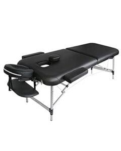 Table de Massage Cosmétique Lit de Massage Kiné Pliante Professionnel Portable Ergonomique Table Canapé Pieds en Aluminium Thérapie Léger Confort Noir 213 * 90cm