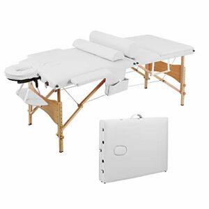 Table de Massage Pliante Professionnelle Legere Bois Housse Table Massage Lit Cosmétique avec Housse de Transport et Accessoires Massage 3 Sections Portable Ergonomique Blanc