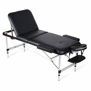 Tables de Massage 70 * 185cm Lit Cosmétique Pliante Aluminium Professionnel Portable Ergonomique Table Thérapie Haute Qualité Ultra Solide Léger Confort Housse de Transport et Accessoires