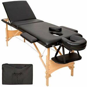 TecTake Table de massage 3 zones pliante cosmetique lit de massage portable + housse de transport – diverses couleurs au choix – (Noir   No. 401466)