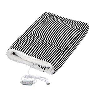 TTSEFW Couverture Chauffante électrique Couverture chauffante en Peluche Lavable Couverture en Peluche avec arrêt Automatique Lavable USB Alimenté par100×65(Rose/Noir),Noir