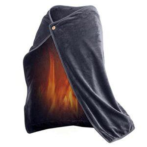 TTSEFW Couverture Chauffante électrique Warm Electric Blanket Shawl Couverture chauffante en Peluche Lavable USB Powered Warming blanket100×70CM(Bleu/Gris/Marron),Gris