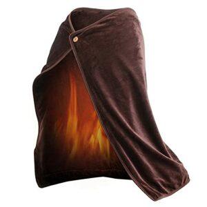 TTSEFW Couverture Chauffante électrique Warm Electric Blanket Shawl Couverture chauffante en Peluche Lavable USB Powered Warming blanket100×70CM(Bleu/Gris/Marron),Marron