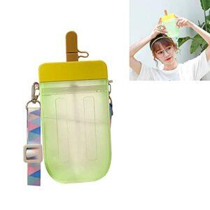 XFSSFWB Popsicle Cup, Bouteilles d'eau de Boisson Popsicle en Plastique pour crème glacée créative, Bouteilles de Popsicle en Plastique étanches avec bandoulière, Convient aux Enfants Adultes