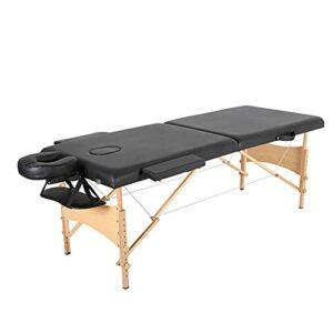 XJBHRB Table De Massage Lit De Massage Portable Lit De Spa, 2 Tables De Salon Pliantes avec Tissu Artificiel en PU, Lit De Berceau pour Le Visage avec Mallette De Transport Table De Massage
