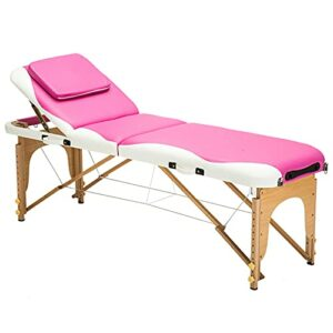 XJBHRB Table De Massage Lit De Massage Portable Table De Thérapie Lit De Spa, Lit De Salon Réglable en Hauteur, Lit De Berceau pour Le Visage, 3 Cintres De Table De Salon De Massage Pliants