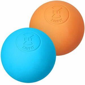 ZinFit Ensemble de balles de massage de première qualité pour la relâchement myofascial, la thérapie par points déclencheurs, les nodules musculaires et la thérapie de yoga Un paquet de 2 Orange bleu