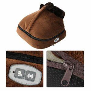 Appareil de massage pour les pieds 2 en 1 – Chauffe pieds – Velours – Couverture amovible – Gros Slipper (Plug UE)
