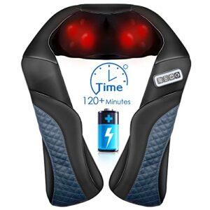 Appareil de massage Shiatsu sans fil pour la nuque, les épaules, le dos, la nuque – Avec chaleur – Massage 3D avec longue ceinture – Pétrissage Shiatsu – Intensité réglable pour la maison et le bureau