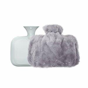 Bouillotte à injection d'eau chaude avec housse en peluche – Chauffe-mains portable – Cadeau idéal pour thérapie par le chaud et le froid – Excellente idée cadeau (couleur : gris)