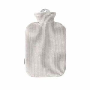 Bouillotte à injection d'eau chaude avec housse en peluche lavable – Sac de couchage chauffe-mains et pieds – Cadeau idéal pour femmes et filles – Couleur : gris – Taille : 900 ml