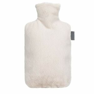 Bouillotte à injection d'eau chaude de 2 litres avec housse en polaire mignonne – Cadeau idéal pour les femmes et les filles – Excellente idée cadeau (couleur : blanc)