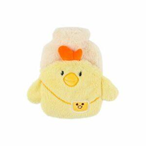 Bouillotte avec housse en peluche mignonne pour injection d'eau chaude anti-brûlure – Cadeau idéal pour les filles – Couleur : jaune