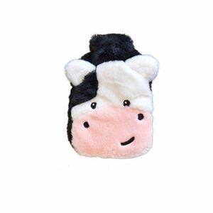 Bouillotte d'hiver portable avec housse en peluche mignonne – Cadeau idéal pour les femmes et les filles – Noir
