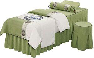 Chilechuan SPA Traitement Salon de beauté Salon de massage Jupe de lit, Table de massage Couvre-lit 4 pièces Couvre-lit couvre-lit haute qualité Coton et linge de beauté Salon de beauté Body Massage P