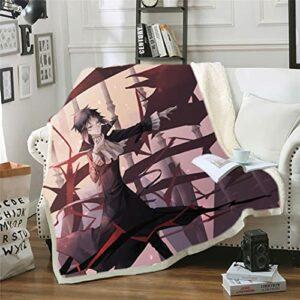 Cnlololog Couverture d'anime Bungo Chiens errants: Ryunosuke Akutagawa Rashomon, Couverture polaire berbère Tapisserie Couverture Couvertures pour fauteuil Canapé-lit Cadeaux chaleureux pour la famill