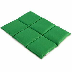 Coussin aux grains de blé 40×30 – Coussin chauffant pour le dos – Bouillotte sèche – Compresse chaude ou froide (6 compartiments; Design: vert clair)