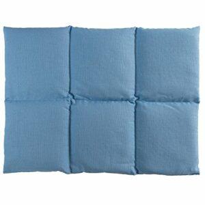 Coussin aux grains d´épeautre biologique 40×30 – Coussin chauffant pour le dos – Bouillotte sèche – Compresse chaude ou froide (6 compartiments; Design: bleu ciel)