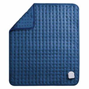 Coussin chauffant électrique pour le dos, le cou, les épaules, grand coussin chauffant en flanelle douce 50 x 60 cm avec arrêt automatique 1h/2h et 5 niveaux de température Surface douce