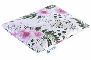 Coussin chauffant en noyaux de cerise 500 g rectangulaire 20 x 25 cm 100% coton certifié Öko-Tex Medi Partners Chaleur + thérapie par le froid Thérapie de massage (Fleurs roses)