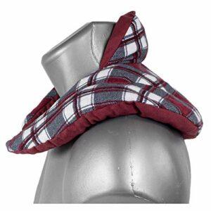 Coussin de nuque avec col montant – – Coussin aux noyaux de cerises – Coussin épaules et cou – Coussin chauffant, chaud ou froid – Design: écossais rouge