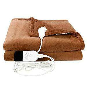 Couverture électrique multifonctionnelle Douce électrique de couverture chauffée, à jet chauffant de 61 «x 49» avec tissu doux à double couche, niveau de température réglable et réglage de chronométra