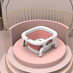CXZDP PP Plastique Spa Pieds Baignoire Portable Masseurs pour Les Pieds avec Fonction De Luminothérapie Rouge Baril De Pédicure Pliant, pour Tremper Les Pieds A,42 * 48 * 8CM