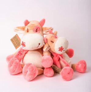 Decolores | Peluche vache câline avec écharpe | Sensation de chaleur et de fraîcheur | Poupées animaux | Micro-ondable | Petite taille | Cadeau original