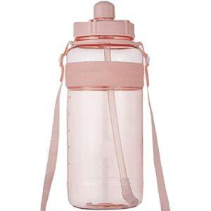 FPEH Grande Bouteille d'eau de Paille Grande capacité Eau en Plastique Tasse d'eau de Sport de Fitness de Fitness pour Enfants Pink