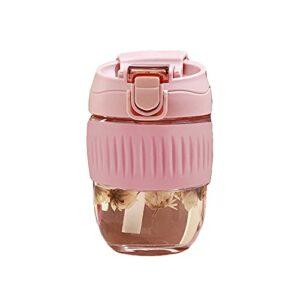 FPEH Tasse à café Portable Mignon de Verre de Paille avec Une Tasse à Double consommation Simple à Double Usage Pink